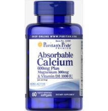 Puritan's Pride Absorbable Calcium plus Magnesium & Vitamin D (60 lágy kapszula)