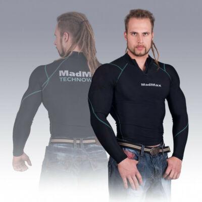 MADMAX Compression Long Sleeve Top With Zip Hosszú ujjú felső Cipzárral (Zöld)