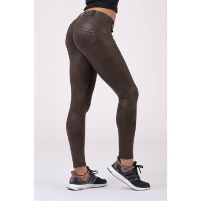 NEBBIA Leather Look Bubble Butt leggings 538 (Barna)