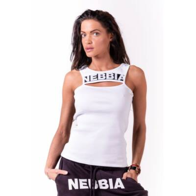 NEBBIA Rib Cut Out női top 678 (Fehér)