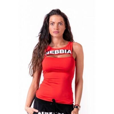 NEBBIA Rib Cut Out női top 678 (Piros)