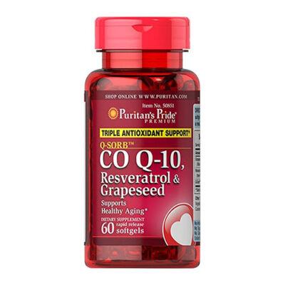 Puritan's Pride Q-SORB™ CO Q-10, Resveratrol & Grapeseed (60 lágy kapszula)