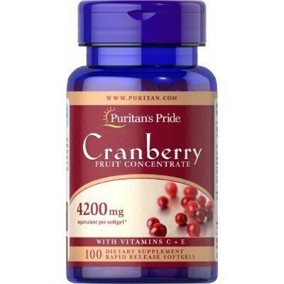 Puritan's Pride Cranberry Fruit Concentrate with C & E 4200 mg (100 lágy kapszula)