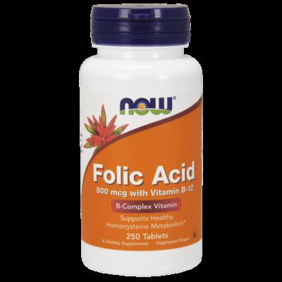 NOW Foods Folic Acid 800mcg with Vitamin B-12 (250 tabletta)