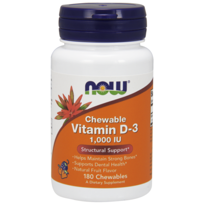 NOW Foods Vitamin D-3 1000IU Chewable (180 rágótabletta)