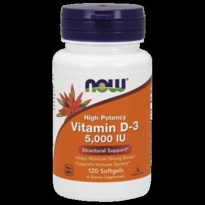 NOW Foods Vitamin D-3 5000IU (120 lágy kapszula)
